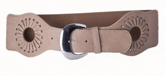 Taupe leather and elastic belt