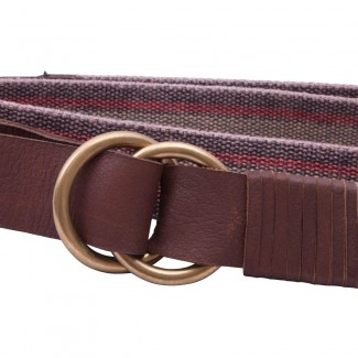 striped webbing d ring belt