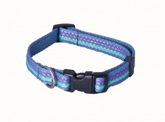 AC Blue Striped Recycled Polyester Webbing Dog Collar