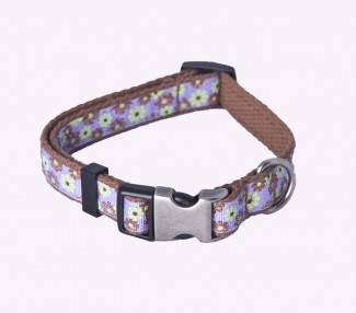 brown organic cotton webbing dog collar