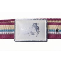 Maroon multi-colored cotton webbing belt