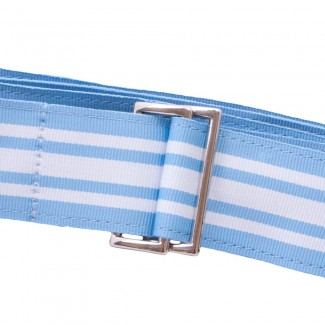 Blue and White Striped Webbing Belt