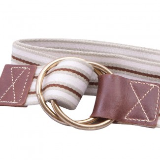 Natural and brown striped webbing belt