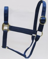 HH Navy Nylon Halter with Shiny Brass Plated Hardware