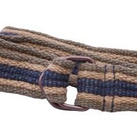 olive, tan, and blue webbing belt
