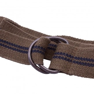 Olive Webbing D Ring Belt with Blue Stripes