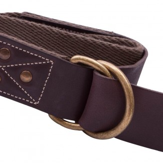 Brown Herringbone Webbing D Ring Belt