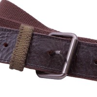 brown and olive webbing and leather belt
