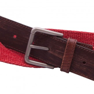 Red webbing and leather belt