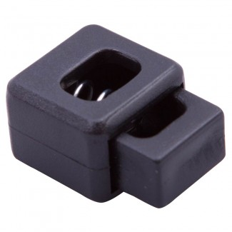 Black plastic box cord lock