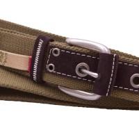 Olive Webbing Belt with Suede Strip