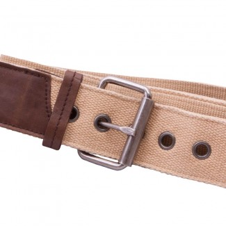 Tan Webbing and Leather Belt