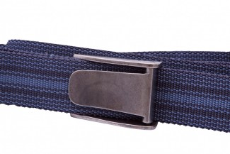 Blue striped webbing belt