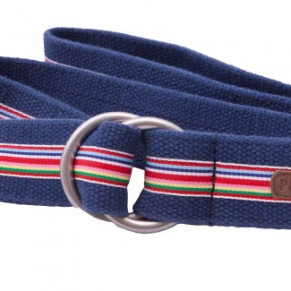 Blue Webbing O Ring Belt with Striped Ribbon