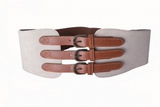 Taupe elastic and leather belt