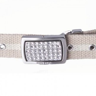 Tan and Natural Webbing Belt with Rhinestone Buckle