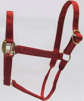HH Red Nylon Halter with Shiny Brass Plated Hardware