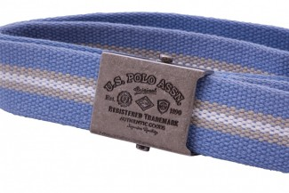Blue, Tan, and Natural Striped Webbing Belt