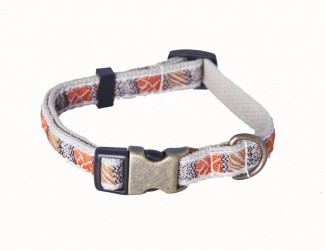 AC Tan Organic Cotton Dog Collar with Ribbon