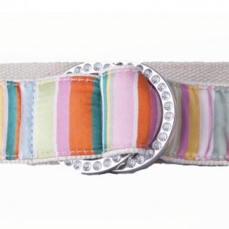 striped webbing belt with rhinestone buckle