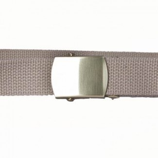 Buff cotton webbing belt with brass buckle