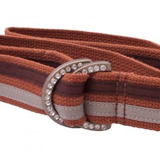 orange webbing belt with rhinestone d rings