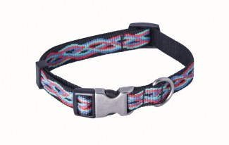 AC Black Jacquard Recycled Polyester Webbing Dog Collar