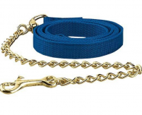HLN Horse Lead 1 inch X 6 FT. Double nylon with a 20 inch brass-plated chain