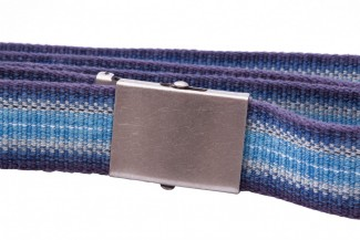 Cool blue webbing belt with horizontal stripes