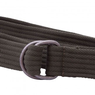 Ribbed Olive Webbing D Ring Belt