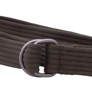Ribbed Olive Webbing D Ring Belt