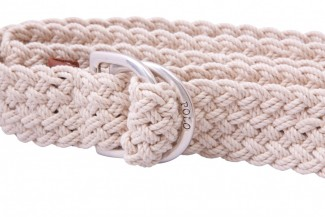 natural braided d ring belt