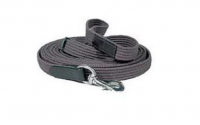 HLC 1 inch x 25ft. lunge line, 1 inch ribbed cotton webbing with leather hand stops and brass snap