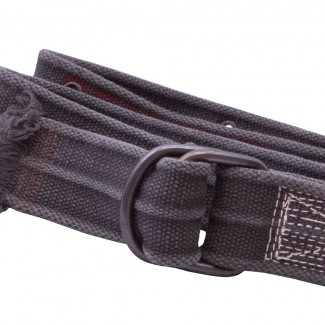 Distressed Black Webbing D Ring Belt