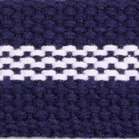 3LPW Navy/White Pebble Weave Cotton Webbing