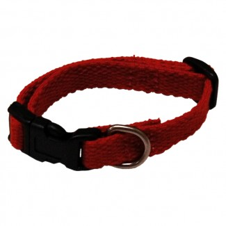 AC Dog Small 1/2-Inch Red Organic Cotton Collar, 6-Inch to 9-Inch