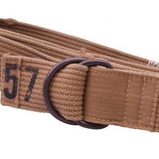Distressed Tan Webbing D Ring Belt