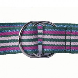 LR Green Multi-colored Stripe Cotton Webbing O-Ring Belt