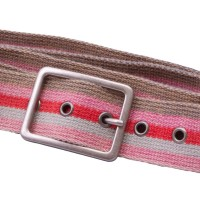 Pink striped webbing belt