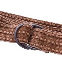 Distressed Brown Webbing D Ring Belt