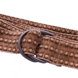 Distressed Brown Webbing D Ring Belt