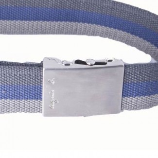 grey and navy cotton webbing belt