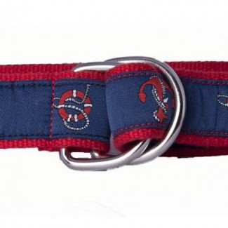 red webbing and nautical pattern d ring belt