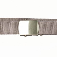 Buff cotton webbing belt with brass buckle