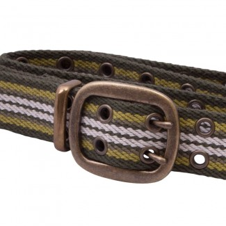 Green Striped Webbing Belt with Grommets