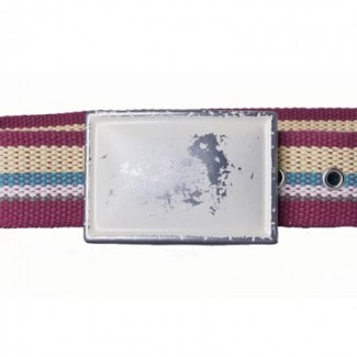 Maroon multi-colored cotton webbing belt