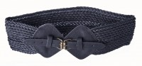 Black braided cotton and leather belt