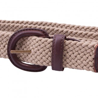 MR Tan Elastic Braid Belt with Leather Details