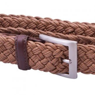 MR Tobacco Braided Belt with Leather Details
