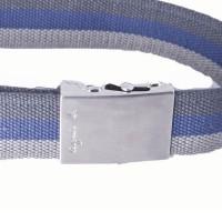 grey and navy cotton webbing belt